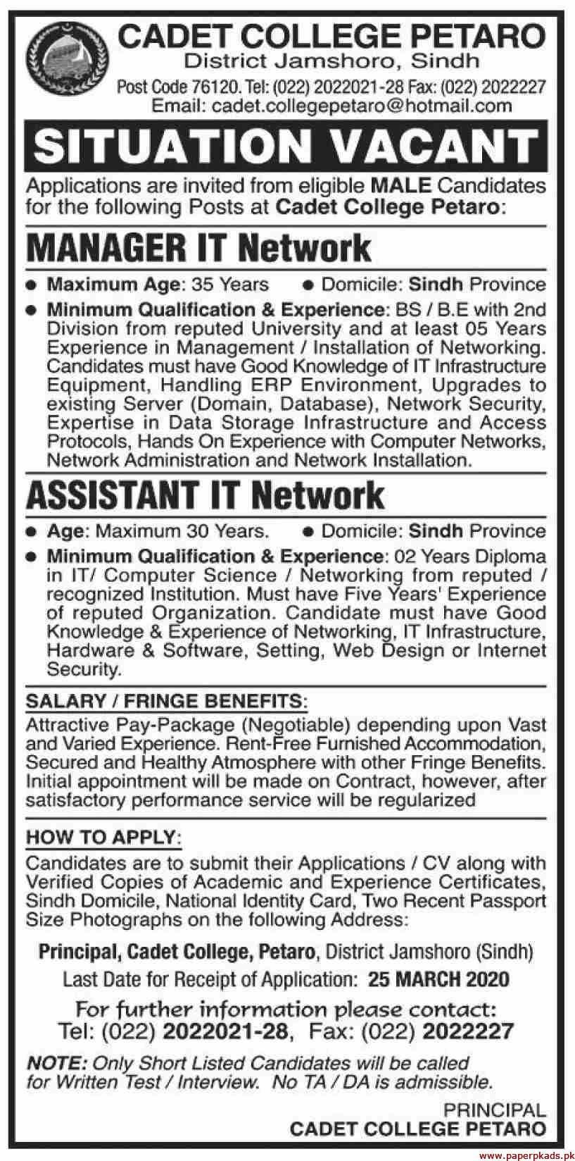 Cadet College Petaro Jobs 2020 Latest