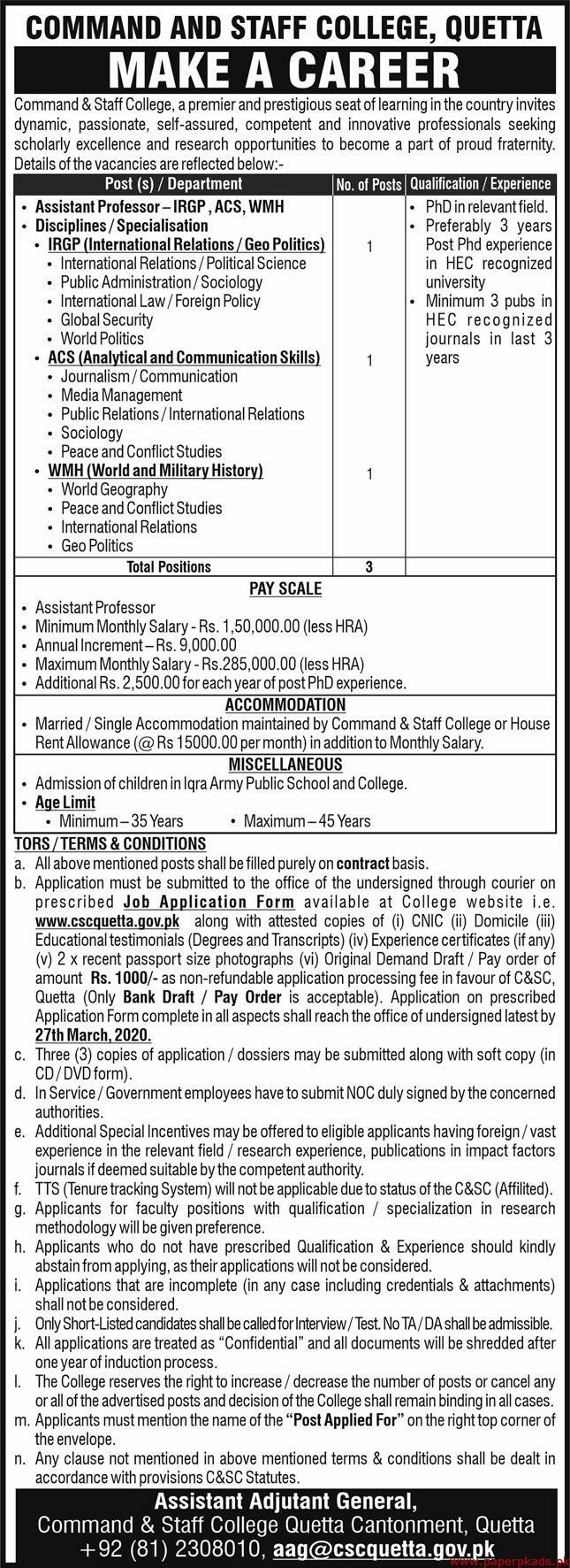 Command & Staff College Jobs 2020 Latest