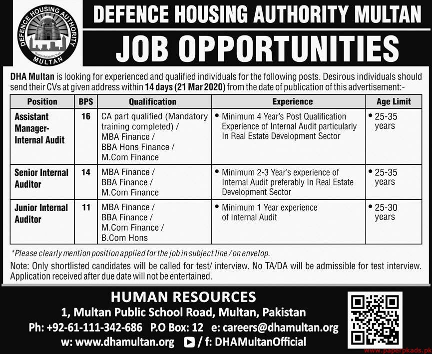 Defence Housing Authority Multan Jobs 2020 Latest