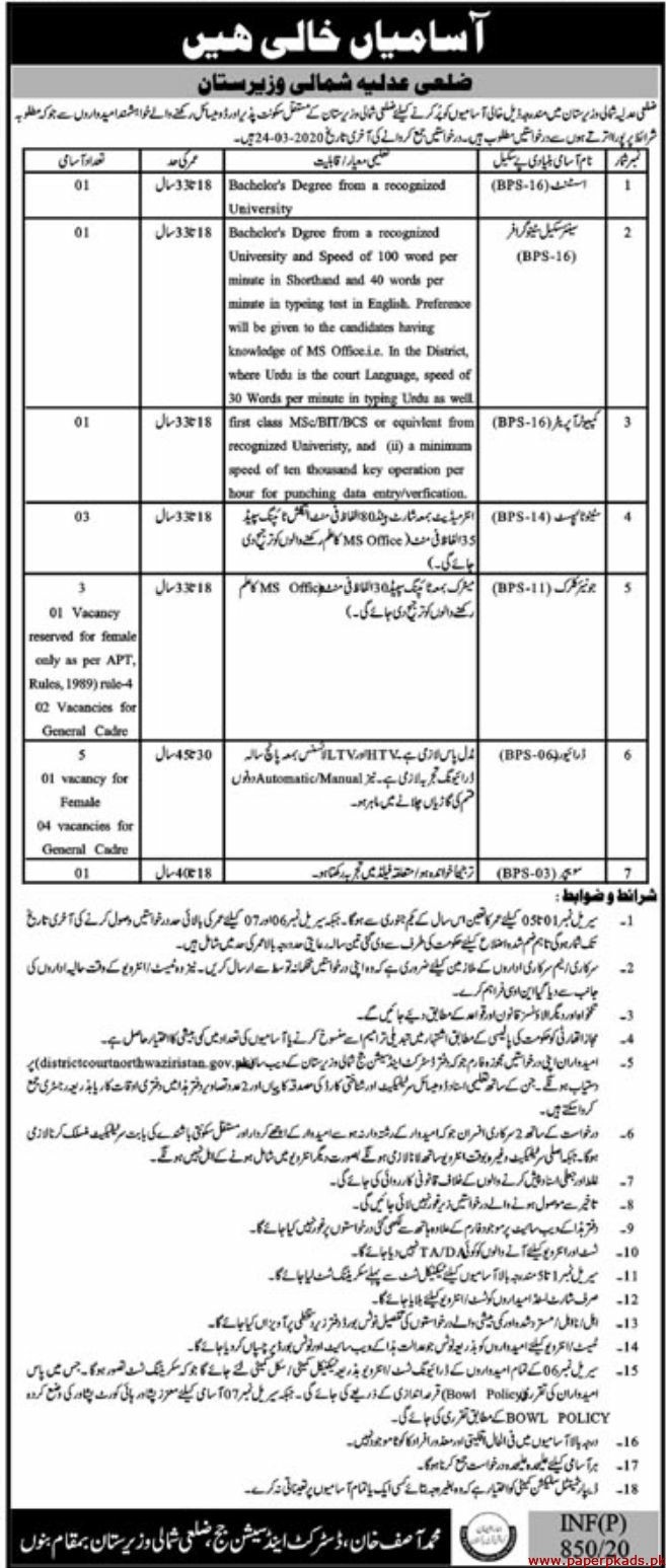 District and Session Judge Waziristan Jobs 2020 Latest