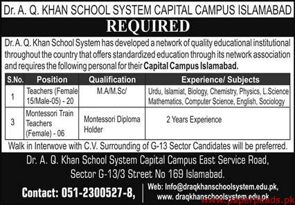 Dr AQ Khan School System Capital Campus Islamabad Jobs 2020 Latest