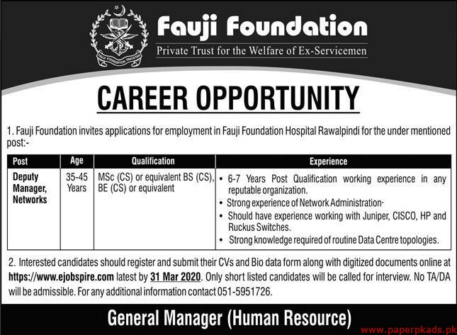 Fauji Foundation Jobs 2020 Latest