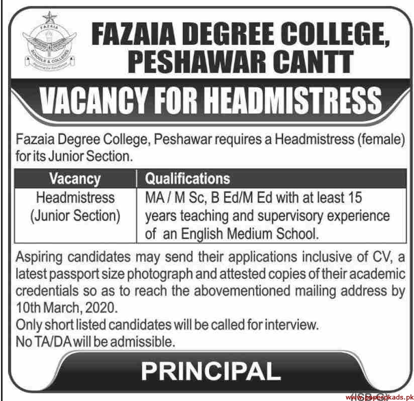 Fazaia Degree College Peshawar Jobs 2020 Latest