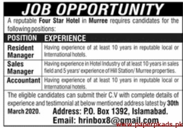 Four Star Hotel Murree Jobs 2020 Latest