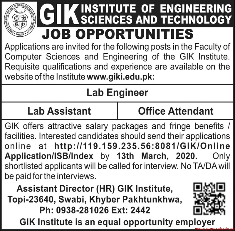 GIK Institute of Engineering Sciences and Technology Jobs 2020 Latest