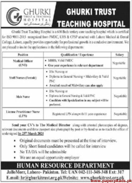Ghurki Trust & Teaching Hospital Jobs 2020 Latest
