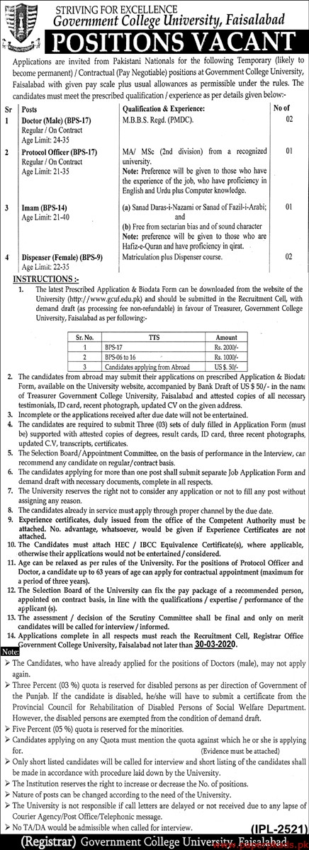 Government College University Faisalabad Jobs 2020 Latest
