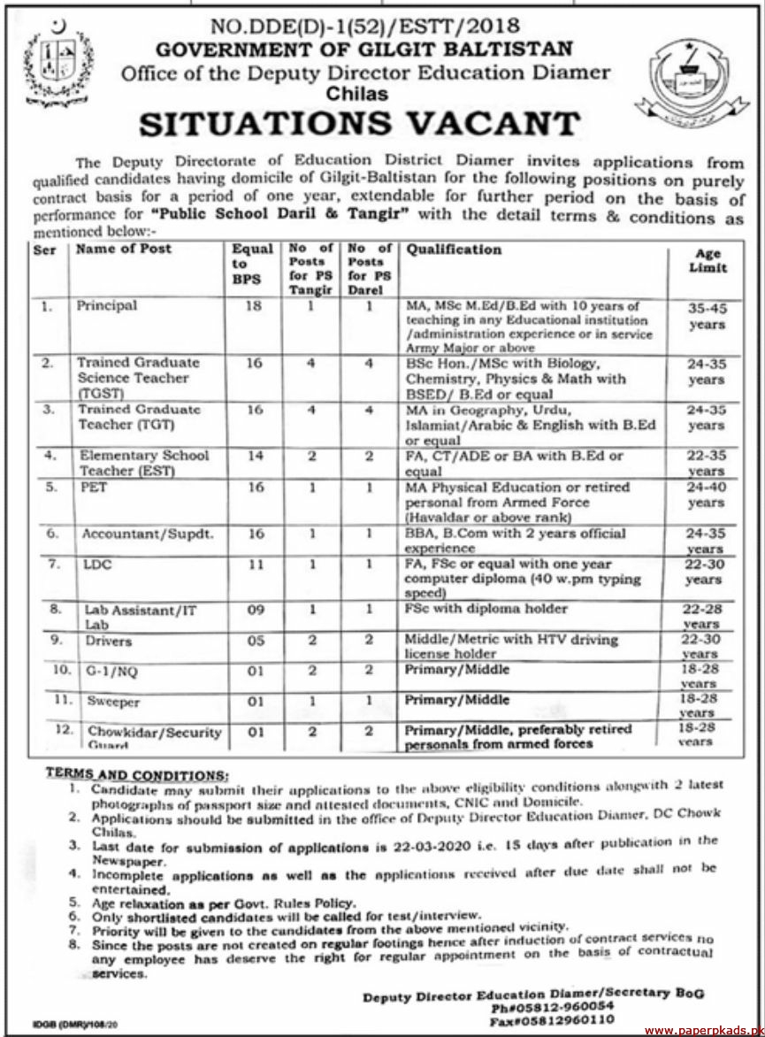 Government of Gilgit Baltistan Deputy Directorate of Education Jobs 2020 Latest