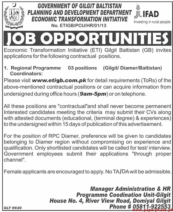 Government of Gilgit Baltistan Planning and Development Department Jobs 2020 Latest