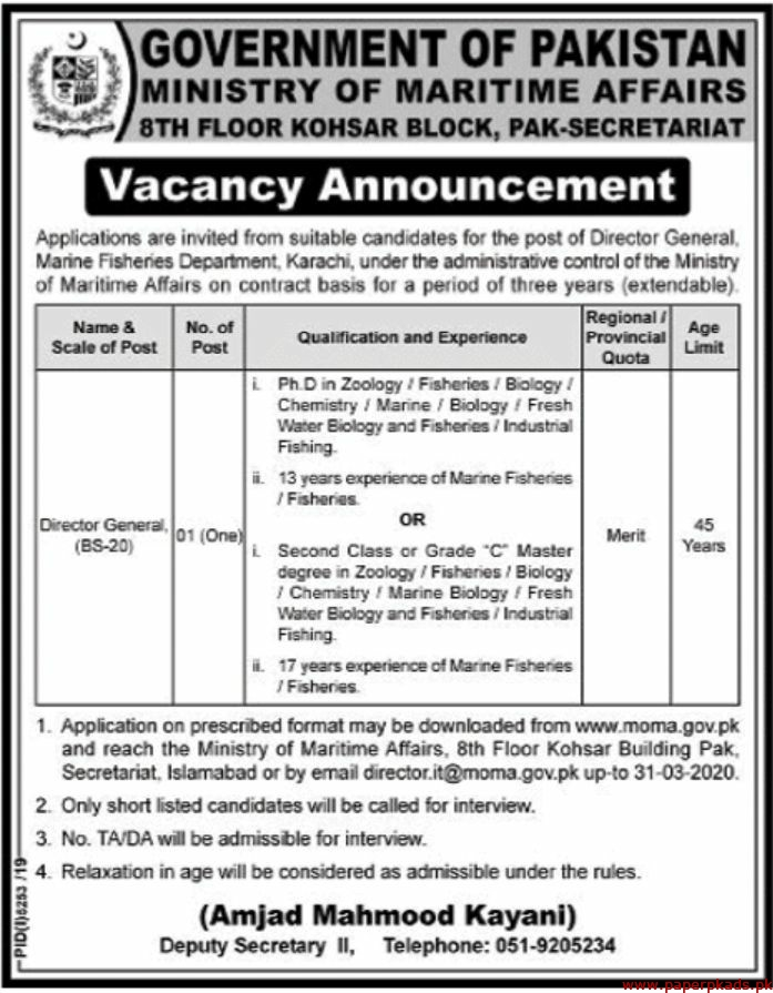 Government of Pakistan Ministry of Maritime Affairs Jobs 2020 Latest