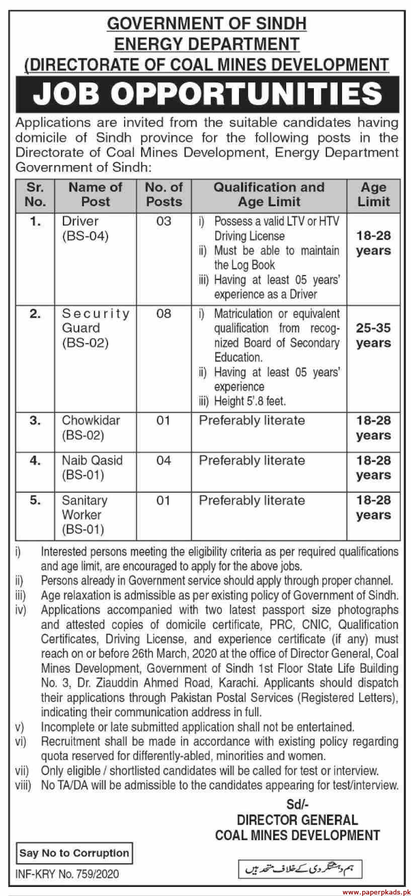 Government of Sindh Energy Department Jobs 2020 Latest