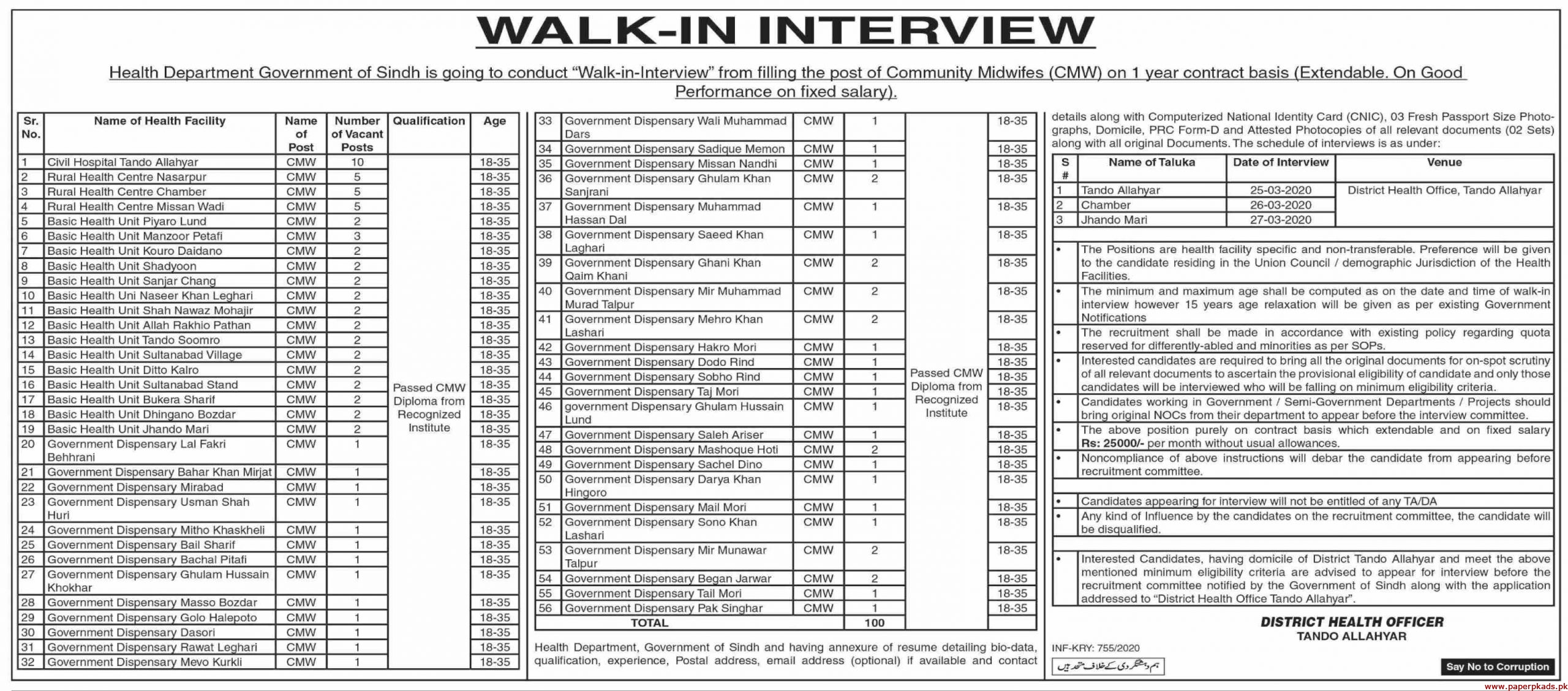 Government of Sindh Health Department Jobs 2020 Latest Paperpk