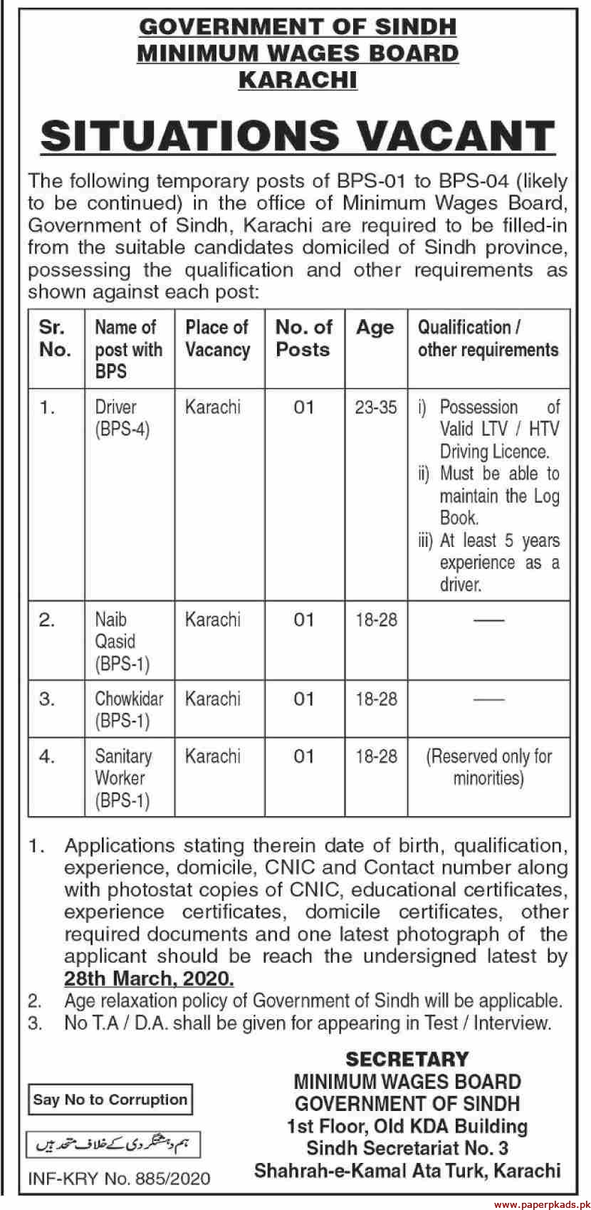 Government of Sindh Minimum Wages Board Karachi Jobs 2020 Latest