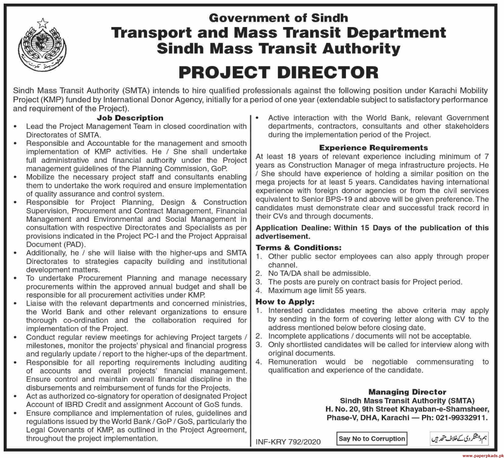 Government of Sindh Transport and Mass Transit Department Sindh Mass Transit Authority Jobs 2020 Latest