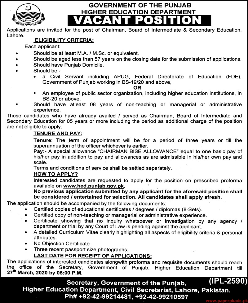 Government of the Punjab Higher Education Department Jobs 2020 Latest