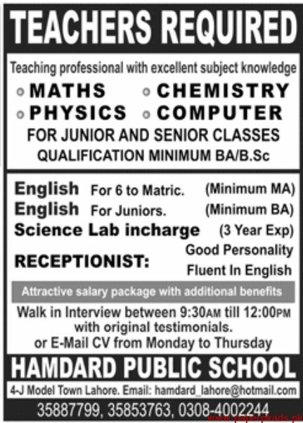 Hamdard Public School Jobs 2020 Latest