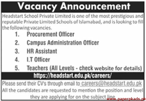 Headstart School Private Limited Jobs 2020 Latest