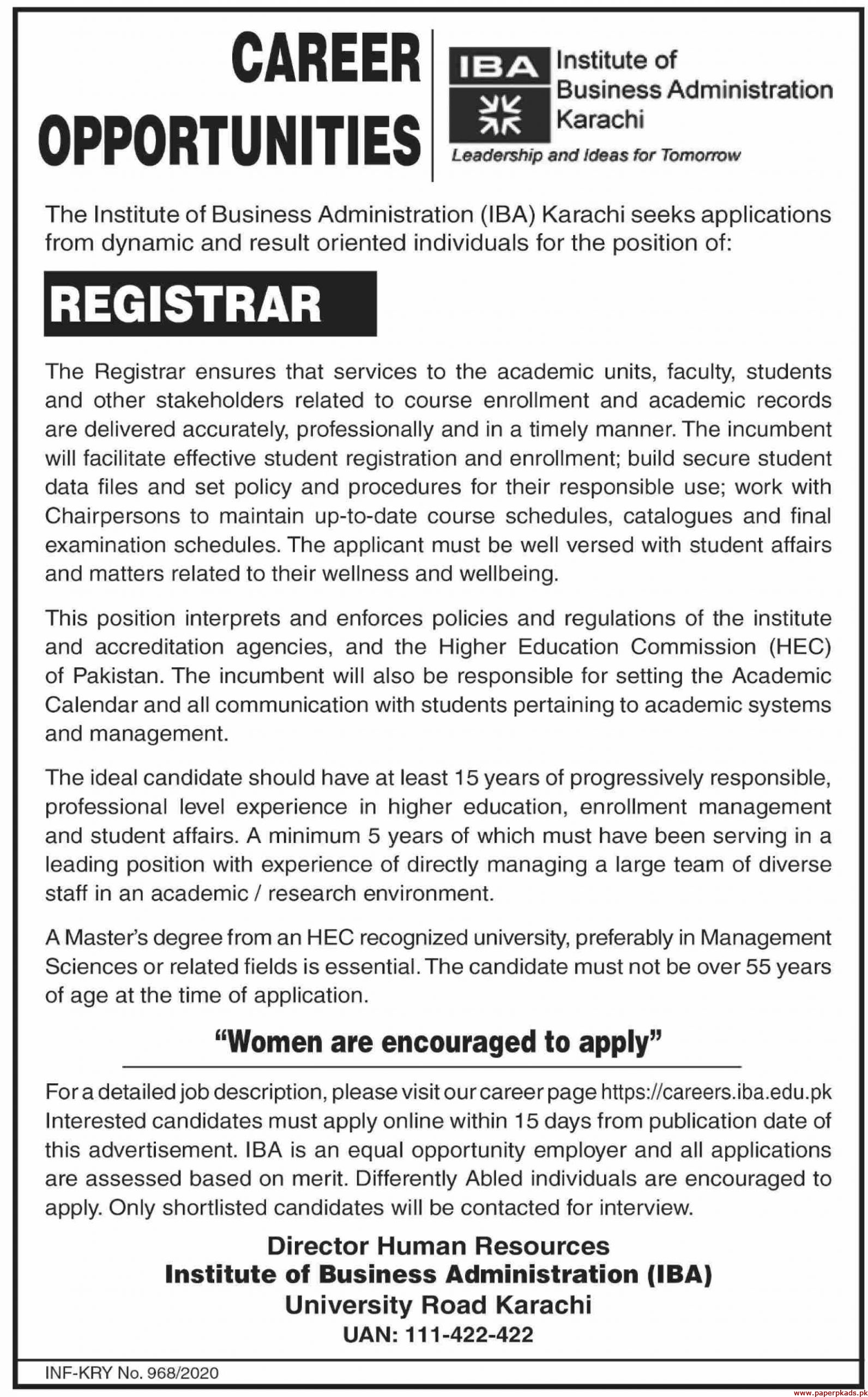 IBA Institute of Business Administration Karachi Jobs 2020 Latest