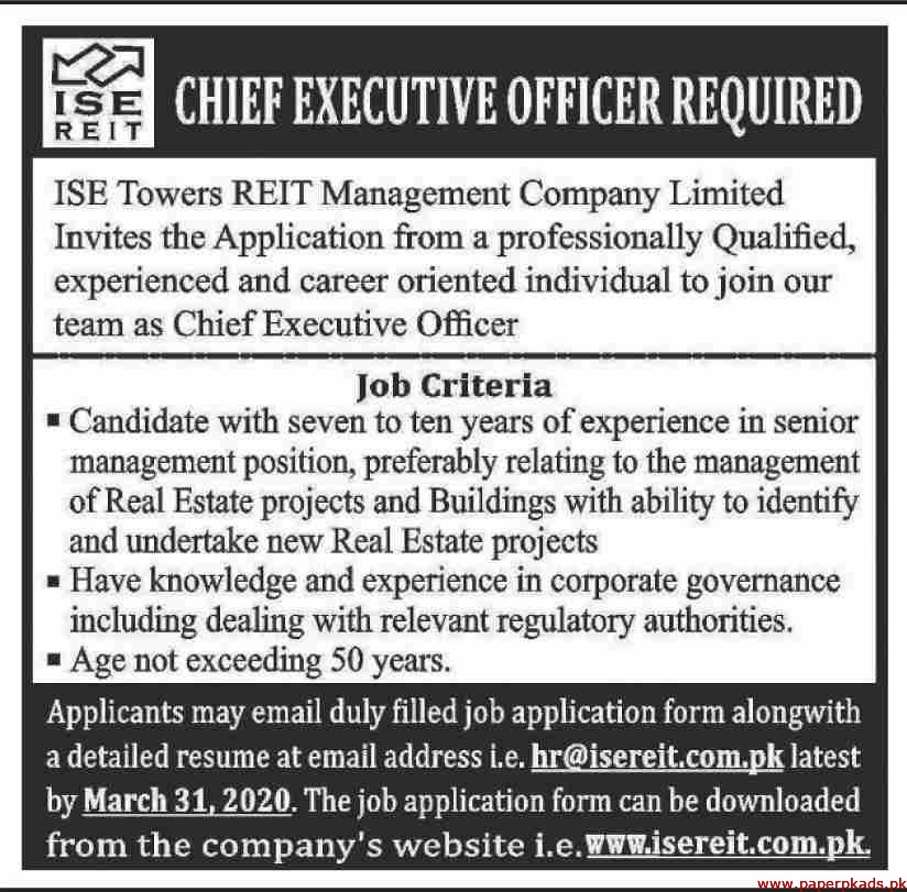 ISE Towers REIT Management Company Limited Jobs 2020 Latest