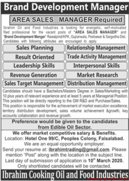 Ibrahim Cooking Oil and Food Industries Jobs 2020 Latest