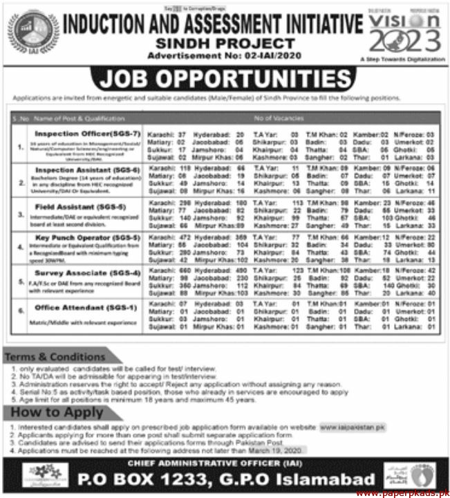 Induction and Assessment Initiative Jobs 2020 Latest