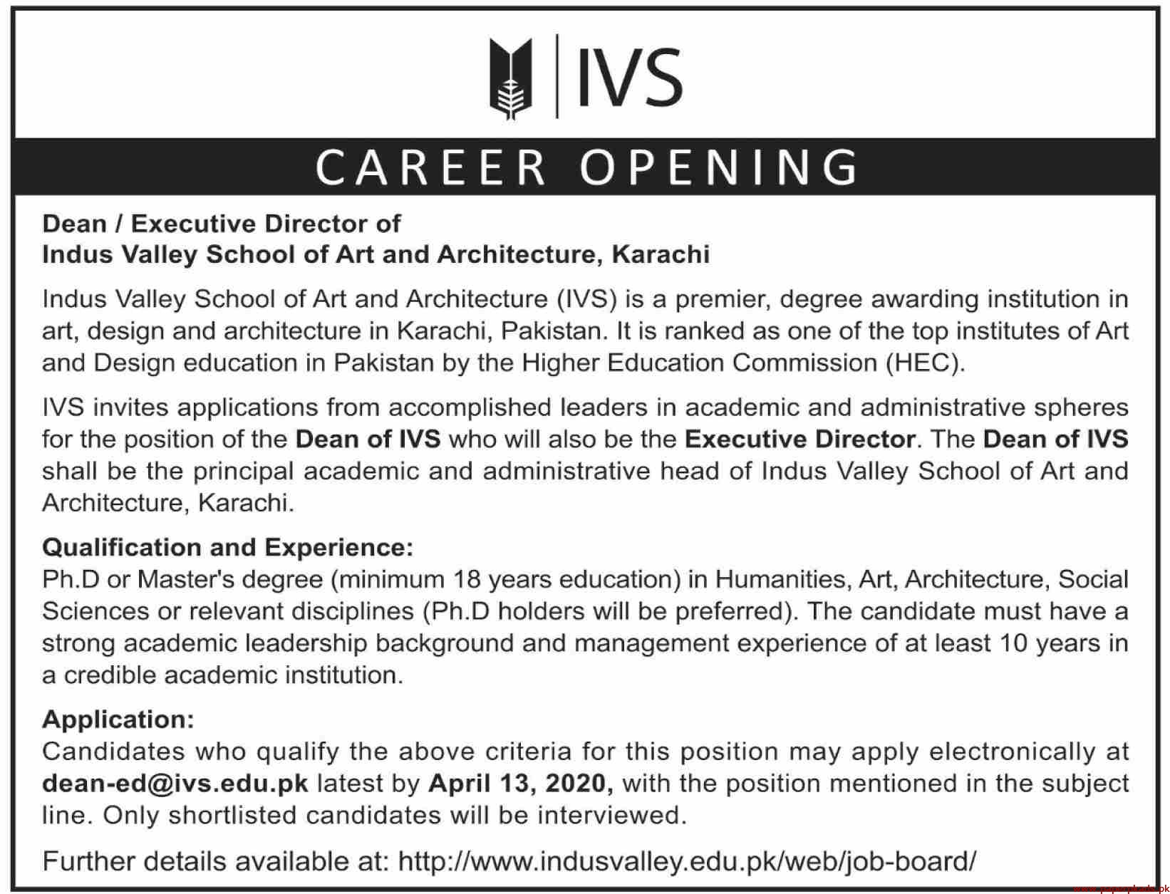 Indus Valley School Jobs 2020 Latest