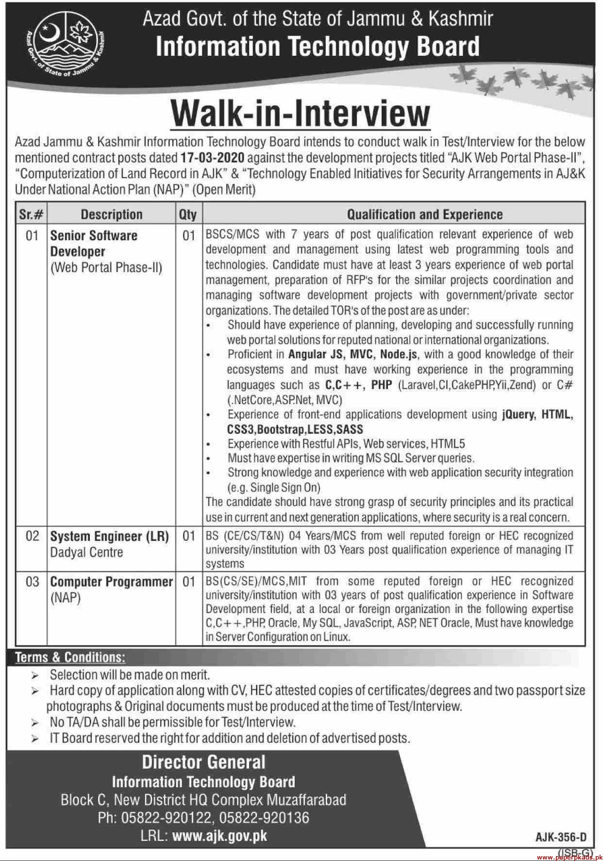 Information Technology Board ITB Jobs 2020 Latest
