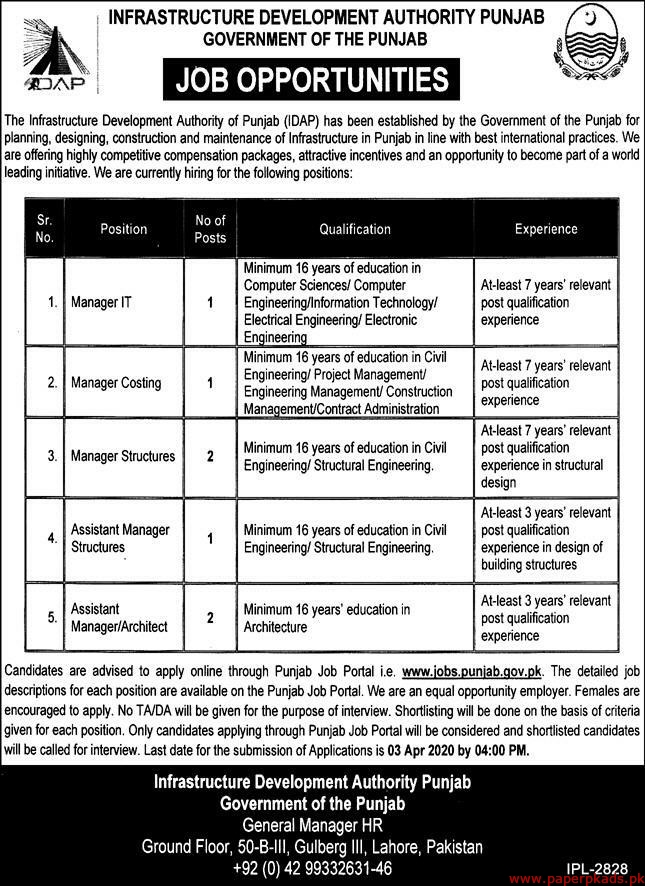 Infrastructure Development Authority Punjab Jobs 2020 Latest