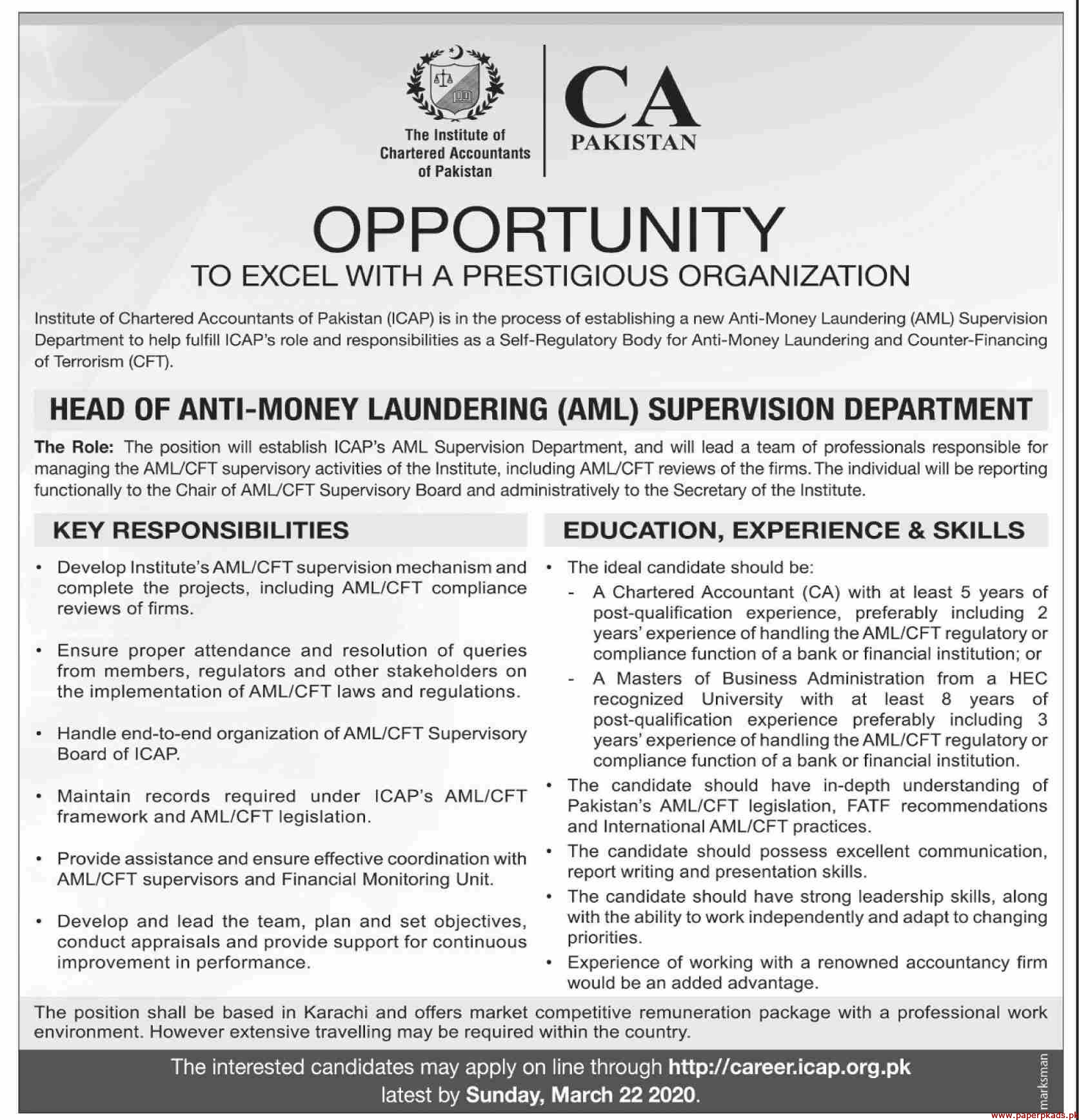 Institute of Chartered Accountants of Pakistan ICAP Jobs 2020 Latest
