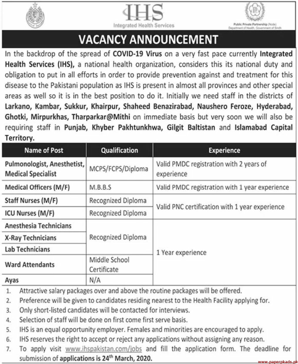 Integrated Health Services IHS Jobs 2020 Latest
