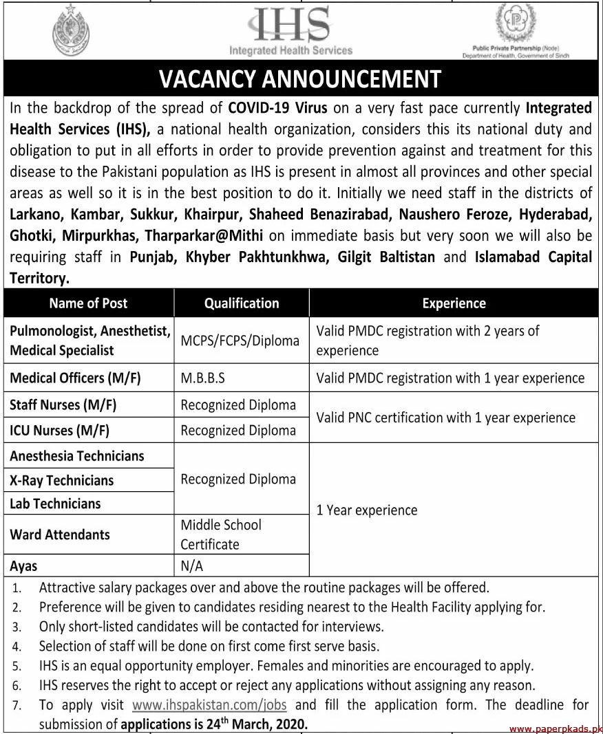 Integrated Health Services Jobs 2020 Latest