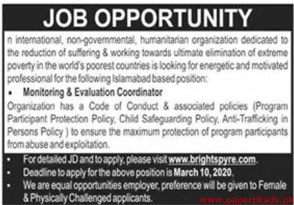 International Non-Governmental Humanitarian Organization Jobs 2020 Latest