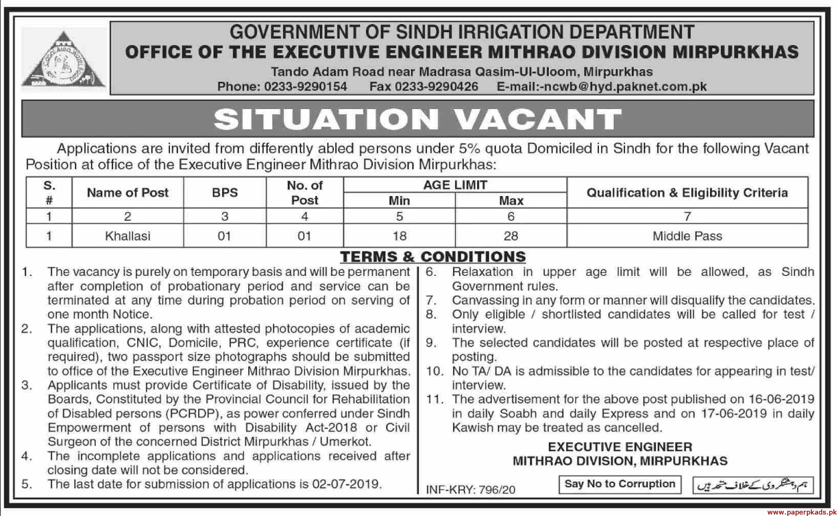 Irrigation Department Government of Sindh Jobs 2020 Latest
