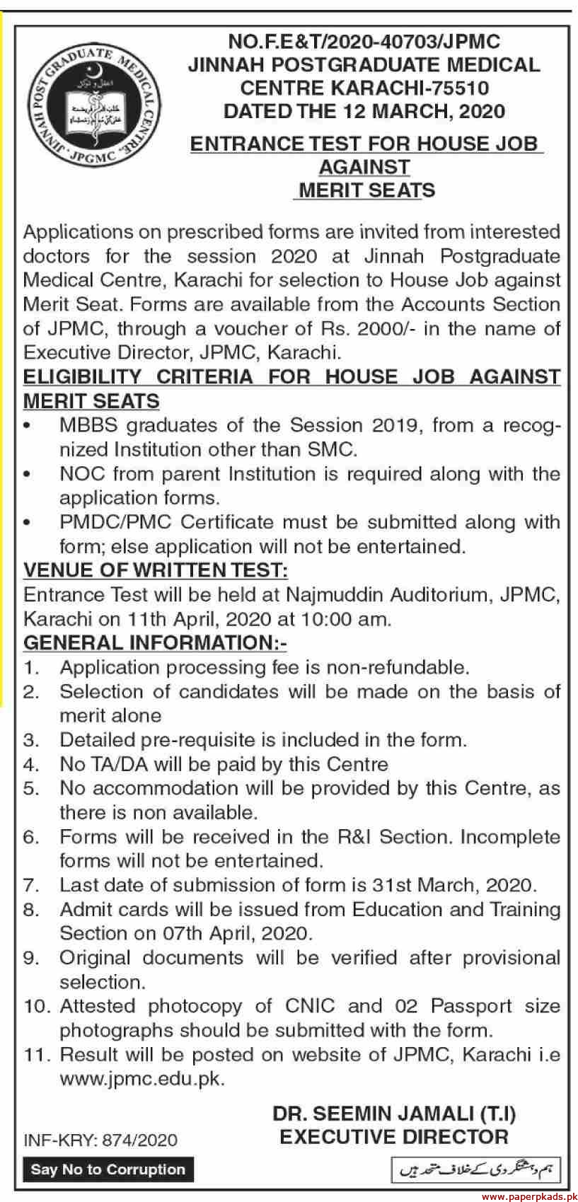 Jinnah Post Graduate Medical Centre Karachi Jobs 2020 Latest