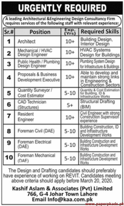 Kashif Aslam & Associates Pvt Limited Jobs 2020 Latest