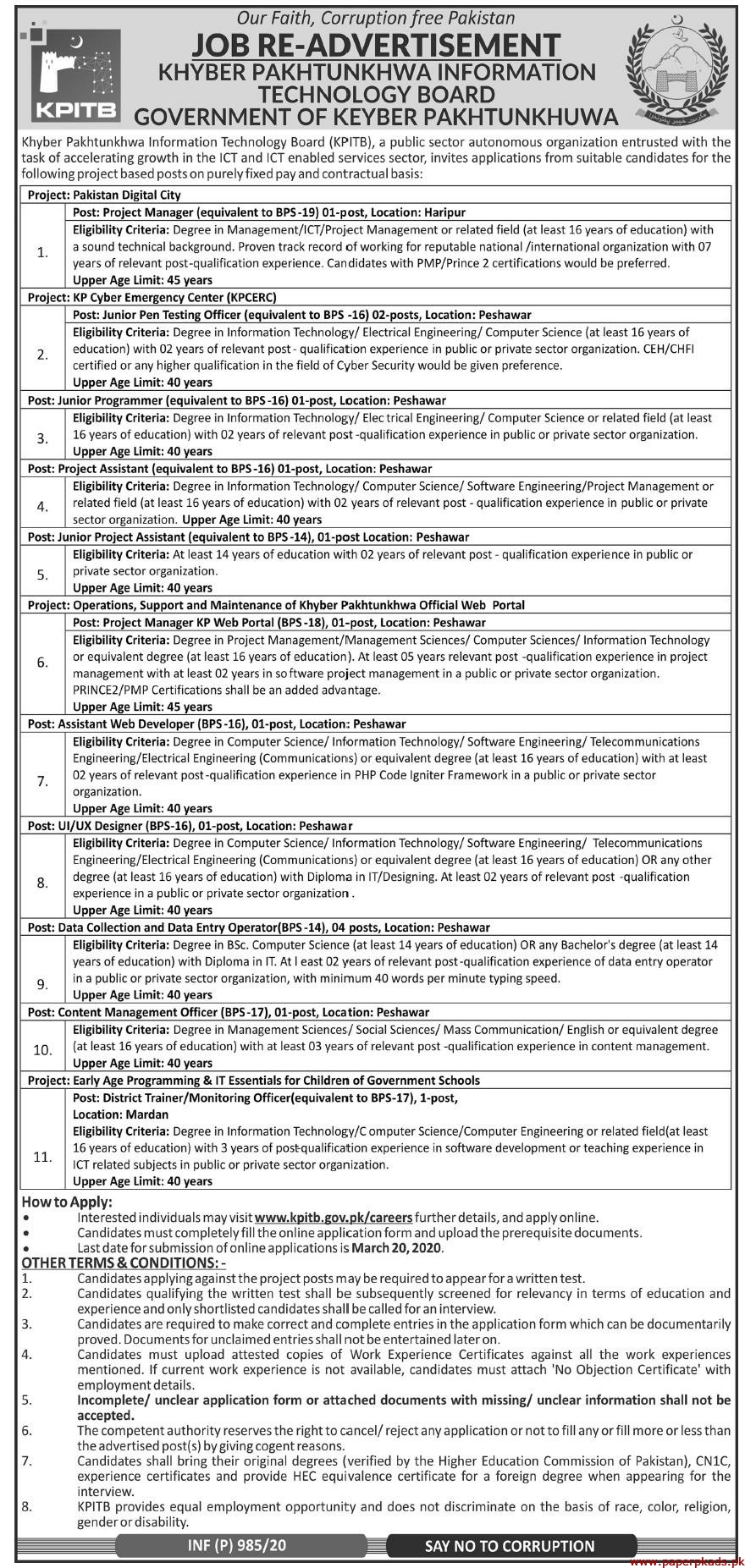 Khyber Pakhtunkhwa Information Technology Board KPITB Jobs 2020 Latest