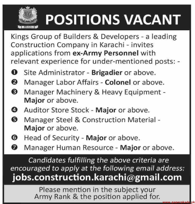Kings Group of Builders & Developers Jobs 2020 Latest