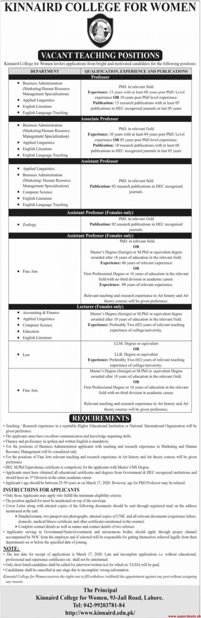 Kinnaird College for Women Jobs 2020 Latest