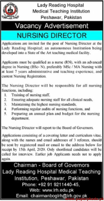 Lady Reading Hospital Medical Teaching Institution Jobs 2020 Latest