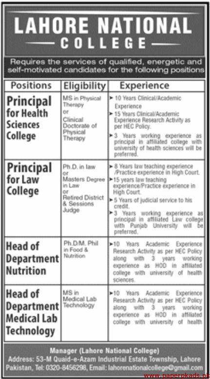 Lahore National College Jobs 2020 Latest