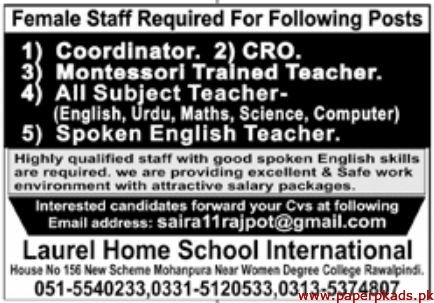Laurel Home School International Jobs 2020 Latest