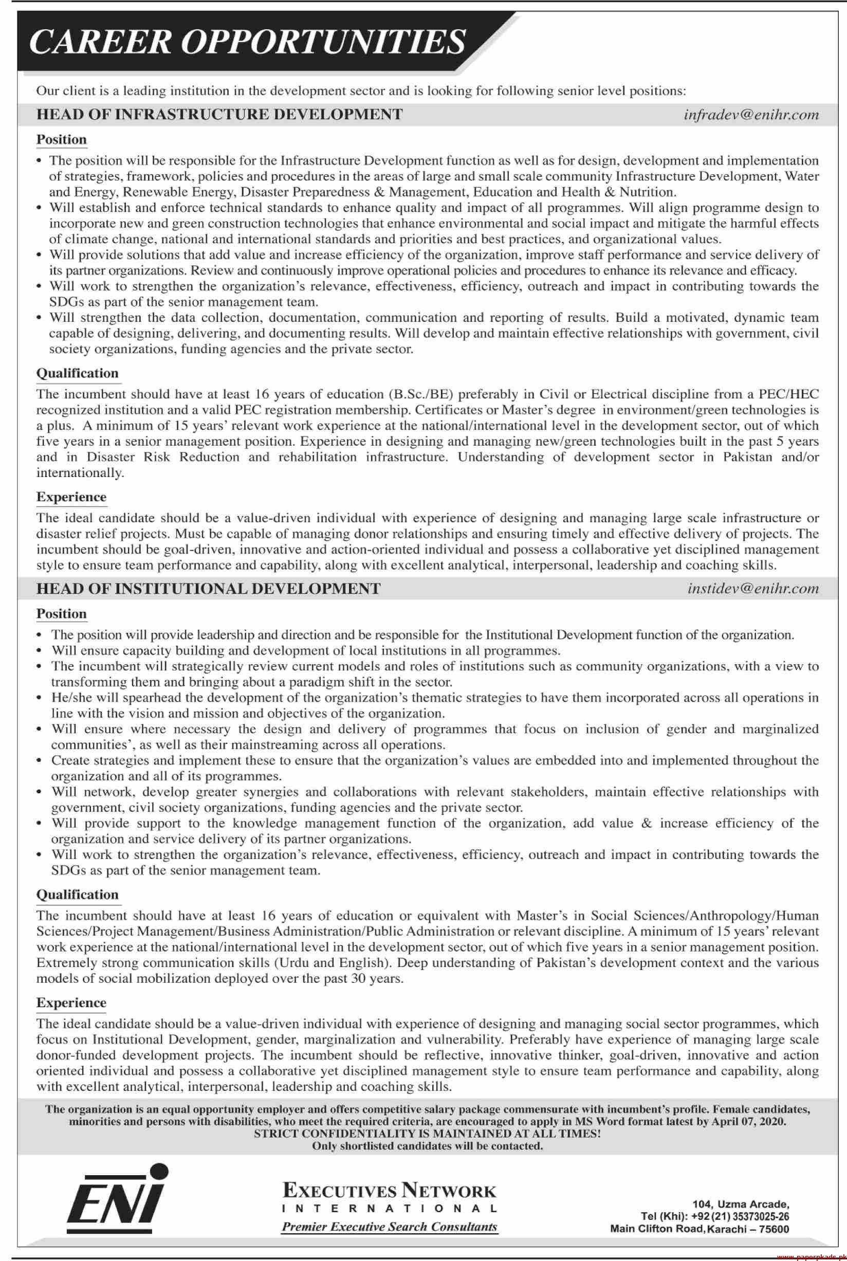 Leading Institution Development Sector Jobs 2020 Latest