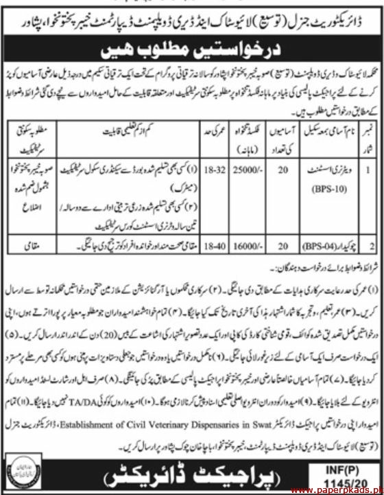 LiveStock and Dairy Development Department Jobs 2020 Latest