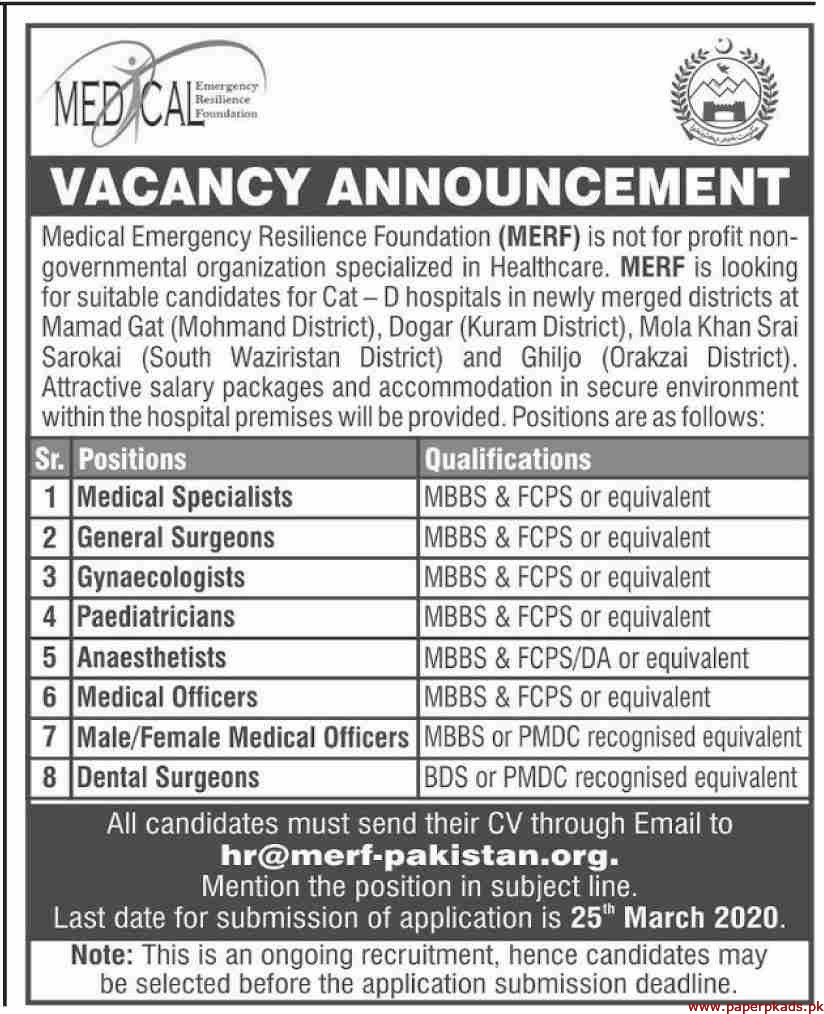 Medical Emergency Resilience Foundation MERF Jobs 2020 Latest