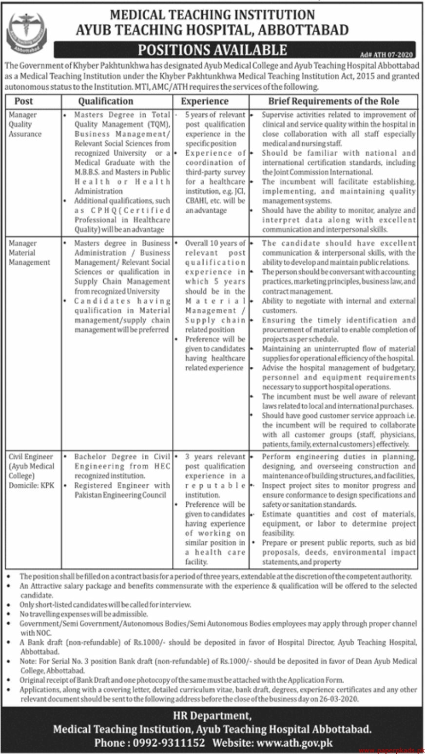 Medical Teaching Institution Ayub Teaching Abbottabad Jobs 2020 Latest