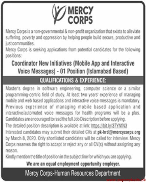 Mercy Corps Non Governmental & Non Profit Organization Jobs 2020 Latest