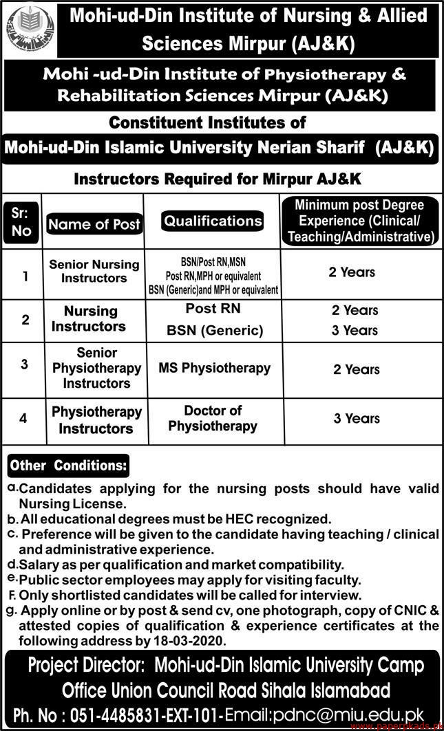 Mohi ud Din Institute of Nursing & Allied Sciences Mirpur AJ&K Jobs 2020 Latest