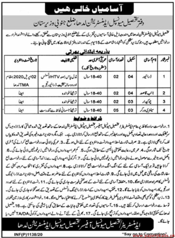 Municiple Administration Waziristan Jobs 2020 Latest