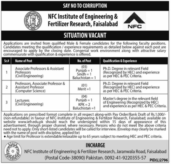 NFC Institute of Engineering & Fertilizer Research Faisalabad Jobs 2020 Latest