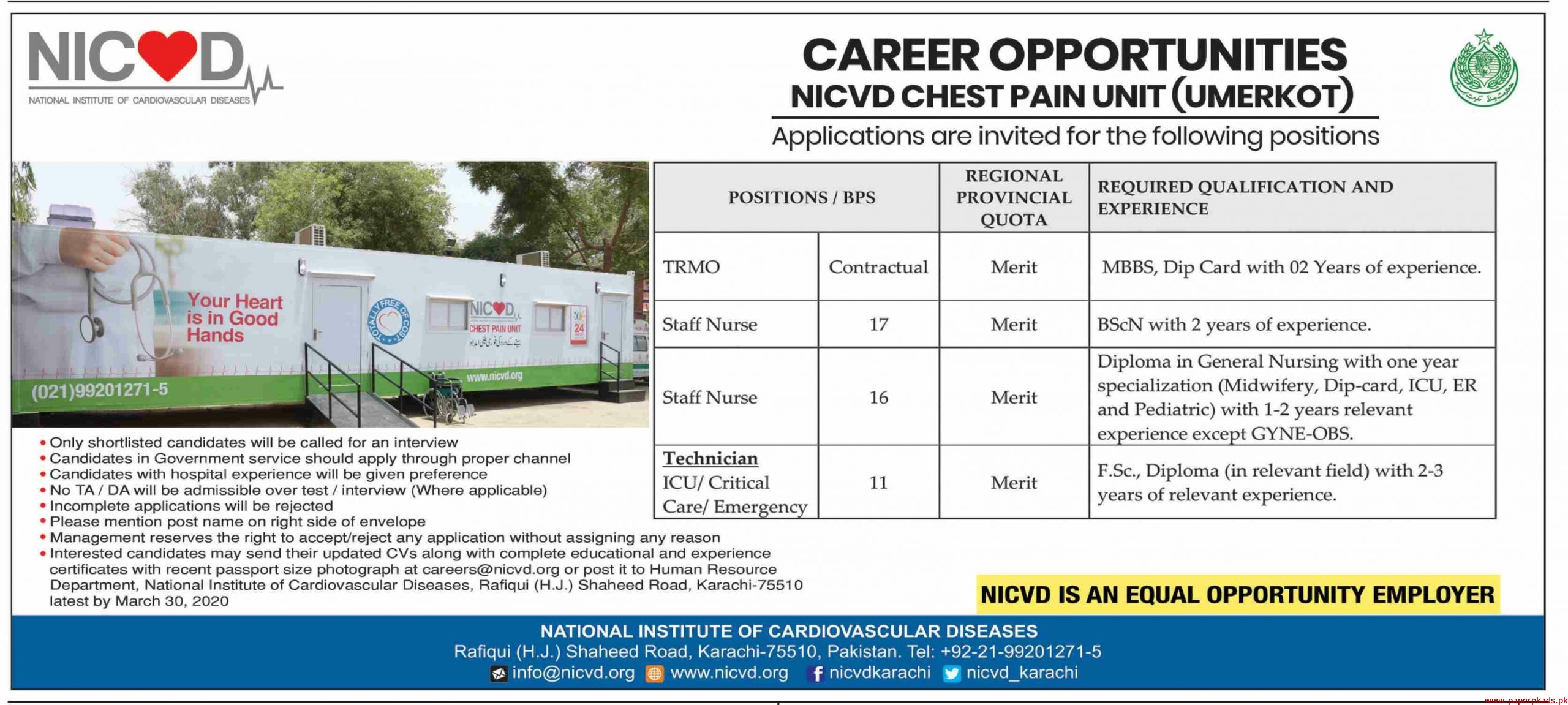 NICVD National Institute of Cardiovascular Diseases Jobs 2020 Latest